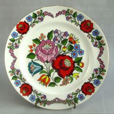 Hungary Folk Art Flower Plate Vintage Tradtional Hand Painted Kalocsa Number 346