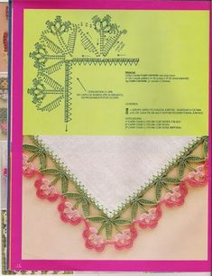 If you looking for a great border for either your crochet or knitting project, check this interesting pattern out. When you see the tutorial you will see that you will use both the knitting needle and crochet hook to work on the the wavy border. Crochet Hook Set, Crochet Chart, Thread Crochet, Crochet Trim, Crochet Motif, Easy Crochet, Crochet Flowers, Crochet Lace, Crochet Diagram