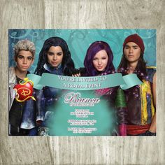 Disney Descendants Printable Birthday Invitation Invitations Party Printables I