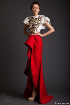 krikor jabotian couture spring 2014 akhtamar collection red and white dress....Wait, here are some interesting details to recreate. Pick 1-3 details that fit your wedding theme. Get that designer look without the designer $$$, have it custom-made.