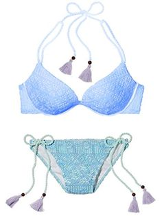 VICTORIAS SECRET SWIM Blue Lace Classic String Bikini Bottom Lavender Tassles L