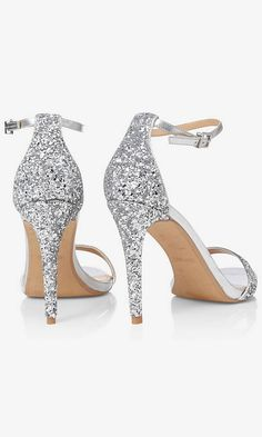 0d745cc40fb57d Silver Glitter Sleek Heeled Sandal from EXPRESS Silver Shoes Heels