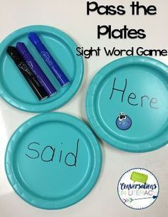 Pass the Plates is a fun small group sight word game! Fun Sight Word Games for Active Learners- sight word activities and ideas that get students moving and learning! kindergarten, first grade, second grade Teaching Sight Words, Sight Word Practice, Sight Word Activities, Reading Activities, Alphabet Activities, Writing Activities, Writing Games For Kids, Fun Reading Games, Sight Word Wall
