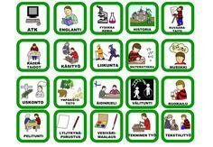 Toiminnanohjaus, pienet kortit kouluun. Myös muistipeliksi?