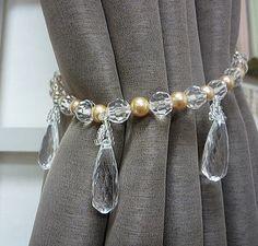 Curtain Tie Backs Diy, Curtain Ties, Home Curtains, Rustic Curtains, Decoupage Tins, Home Decor Hooks, Curtain Holder, Curtain Designs, Home Office Decor