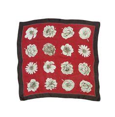 Ellen Tracy Red & Brown Floral Silk Scarf