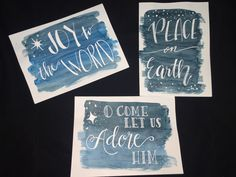 Simple water colored + calligraphy diy Christmas cards • white on dark background
