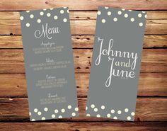 Printable Polka Dot Wedding Menu Card with Custom Colors