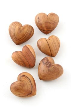 Carved wild olive wood hearts