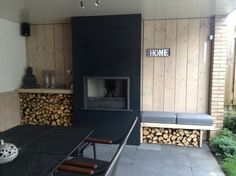 """What You Should Do About Fireplace with Wood Storage Beginning in the Next 9 Minutes The fireplace looks fantastic!"""" Especially in the event the fireplace is in your room or you're the sole guests that day. A lovely fireplace in… Continue Reading → Outdoor Rooms, Outdoor Living, Chill Lounge, Built In Braai, Marquise, Outside Living, Wood Storage, Interior Exterior, Garden Furniture"""