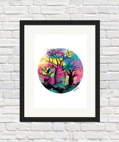 Boab Tree Orb Print by BronwynHoustonArt on Etsy Herringbone Wall Art, Portrait Wall, Linoprint, Cockatoo, Sign Printing, Mixed Media Canvas, Amazing Art, Watercolor Art, Monochrome