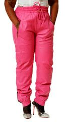 Womens Unisex Pink Leather Sweat Pants / Joggers Relaxed Fit Smooth Nappa Sheepskin Red Liner Unisex $149.95
