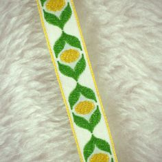 2 YARDS, Vintage 1960s, Woven Embroidered Sewing Trim, Green Yellow Ovals on White, 5/8 Inch Wide, L150 by DartingDogCrafts on Etsy