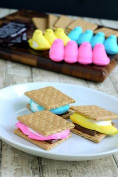 Super Cute Idea!!! Easter smores made from Peeps! holiday, easter smore, idea, sweet, food, yummi, recip, peep smore, dessert