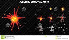 Vector Explode. Explode Effect Animation With Smoke. Cartoon Explosion Frames. Sprite Sheet Of Explosion Stock Vector - Illustration of film, burst: 87757153