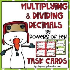 "Looking for a great math activity for December? This set of 32 task cards to practice multiplication by the Powers of Ten using exponents is perfect! This set can be used for a small group math center, a whole group ""Scoot"" activity, used as a bell ringer"