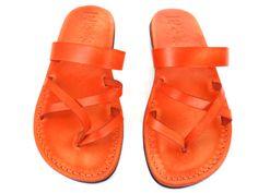 Orange or Black or Caramel or Brown Leather Women's Sandals APHRODITE NEW ARRIVAL by Sandalimshop on Etsy