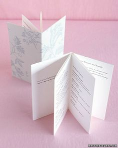 For this pocket-size program, six pages of text are printed on a single strip of paper, which is then folded in an accordion fashion. The cover, of floral card stock, is glued to the front and back pages so that the program reads like a book instead of unfolding.