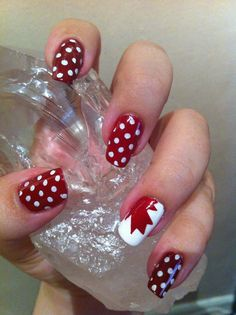 Canada day is here yet again and we have tons of things to do before the time comes, many flags and buntings will be hoisted in the streets and people will pay Nail Polish Style, Nail Polish Designs, Cool Nail Designs, Painted Acrylic Nails, Painted Toes, Seasonal Nails, Holiday Nails, New Nail Art, Cool Nail Art