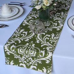 Traditions White on Olive Wedding Damask Table Runner. via Etsy Olive Wedding, Wedding Table, Wedding Ideas, Fabric Swatches, Table Runners, Damask, Dream Wedding, Traditional, Pattern