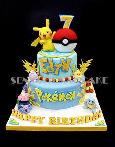 Custom made Pokemon theme birthday cake by Sensational Cake | Singapore children birthday party photography by Truphotos |…