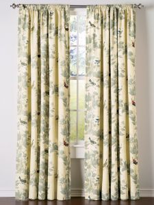 The Aviary Lined Rod Pocket Window Curtains from The Vermont Country Store feature richly colored songbirds. Curtain panels are sold in pairs and made from a satin-like material. Drapes And Blinds, Elegant Curtains, Home Curtains, Printed Curtains, Drapery Panels, Panel Curtains, French Country Curtains, Valance Patterns, Quartos