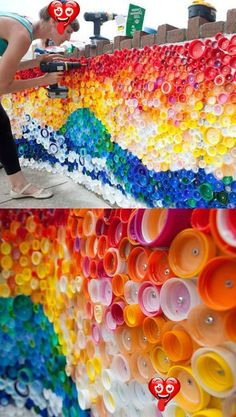 23 Creative Ways To Recycle Old Plastic Bottles Into DIY Crafts Beautiful Mosaic From Caps Left By Hurricane Sandy -- Creative Ways To Reuse Old Plastic Bottles<br> DIY recycling projects are always cool, especially when you can turn your trash into something new and useful. We've written posts about ways to recycle before, but it turns out there's so much that you can do with recycle plastic bottles that they deserved their own post. These 23 are a great place to start, but can you think of… Plastic Bottle Caps, Plastic Bottle Flowers, Bottle Cap Art, Recycle Plastic Bottles, Plastic Art, Plastic Recycling, Recycled Art Projects, Recycled Crafts, Diy Crafts