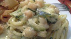 Bigoli,scampi e zucchine con panna