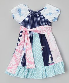 Love this Navy Nautical Patchwork Peasant Dress - Infant, Toddler & Girls on #zulily! #zulilyfinds
