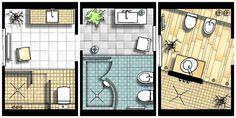 kleine Bäder, Grundrisse, Badgestaltung, Bäder mit Dusche, Foto: SHK / 100-baeder.de Bathroom Plans, Bathroom Spa, Bathroom Layout, Loft House Design, House Construction Plan, Drawing Interior, Flat Ideas, Architecture Plan, Next At Home