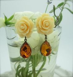 GRAND ENTRANCE  Pale Yellow Rose Cabochon by NoisyButterfly, $24.50