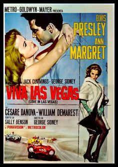 Viva Las Vegas is a 1964 American musical film starring Elvis Presley and actress Ann-Margret. The film is regarded by fans and by film critics as one of Presley's best movies, and it is noted for the on-screen chemistry between Presley and Ann-Margret. Old Movie Posters, Classic Movie Posters, Classic Movies, Vintage Posters, Film Posters, Travel Posters, Theatre Posters, Ann Margret, Good Girl