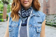 {Will Run For Food - Simply Audree Kate} Fashion floral neck scarf with denim vest and striped top for a cute spring outfit
