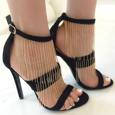 Dangling Beaded Detailed Sandal Heels
