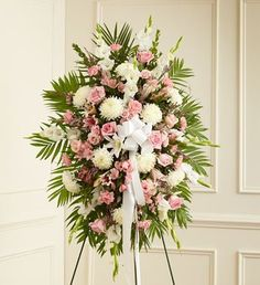 1-800-Flowers - Deepest Sympathies Standing Spray-Pink & White - Medium By...
