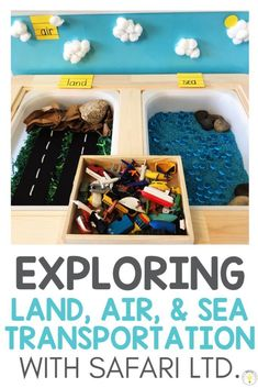 Kids will love exploring land sea air vehicle sort using sensory bins, Safari Ltd. TOOBS, and a sticky wall for the sky. This transportation classification activity is perfect for beginning geography or your transportation unit in preschool, kindergarten, or special education. My toddler loved this activity, especially the water! #sensoryactivities #toddleractivities