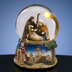 Amazon.com: Christmas Nativity - Water Globe with Lighted Star: Furniture & Decor