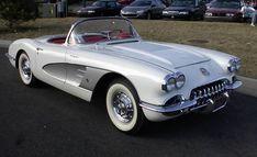 dream car: A 1958 Chevy Corvette C1, silver on white.