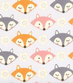 Novelty Cotton Fabric- Foxes On Grey