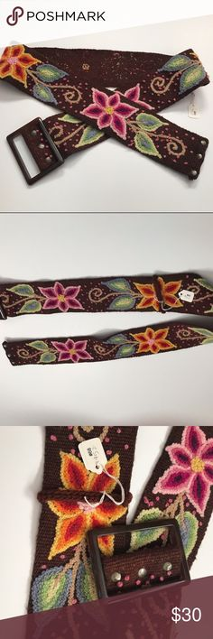 """Floral Embroidered Wide Belt Brown knit embroidered boutique belt, possibly wool but unknown material.   Meausres 2.75"""" W X 42.5"""" L. unbranded Accessories Belts"""