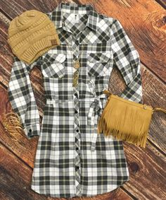 Grey Skies No More Flannel Tunic Dress