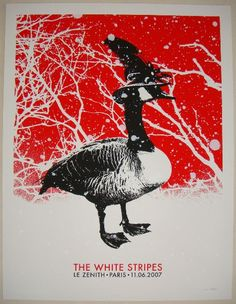 "2007 The White Stripes - Paris Meg Concert Poster by Rob Jones Venue: Le Zenith Location: Paris, France Concert Date: 6/11/2007 Edition: signed and numbered out of 231 Size: 20"" x 26"""