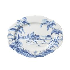 """Country Estate Delft Blue 15"""" Serving Platter Stable - Plum Pudding"""