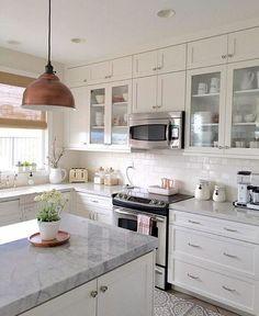 New Kitchen Lighting Open White Cabinets 27 Ideas Upper Cabinets, White Kitchen Cabinets, Kitchen Cabinet Design, Kitchen Redo, Home Decor Kitchen, New Kitchen, Kitchen Remodel, Kitchen Dining, Kitchen White
