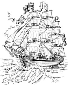 Printable Boat Coloring Pages - Free Coloring Sheets Coloring Book Pages, Printable Coloring Pages, Coloring Pages For Kids, Coloring Sheets, Ship Drawing, Wood Burning Patterns, Digi Stamps, Pyrography, Colorful Pictures
