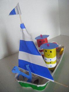 barco, huevera, cartón...