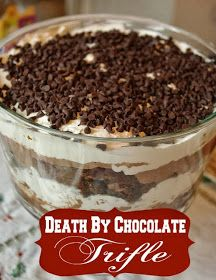 could use a cup of coffee instead of kalhua A Go-to Dessert: Death By Chocolate Trifle. This pretty dessert is a crowd-pleaser for any holiday gathering. Layered Desserts, Just Desserts, Delicious Desserts, Yummy Food, French Desserts, Trifle Bowl Recipes, Dessert Recipes, Baileys Trifle Recipes, Trifle Dish