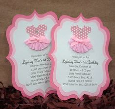 Handmade Pink Ballerina Invitation for Girl. $23.99, via Etsy. 1st birthday idea