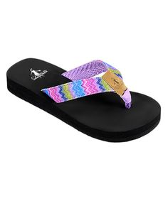 31d902886a14be Corkys Footwear Orange   Purple Glitter Zig-Zag Fish Flip-Flop