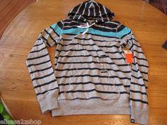 Nike Womens active long hoodie shirt stripes L 419649 065 Gray Black 45.0 NWT*^